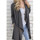 Fashion Slim Waterfall Front Long Sleeve Irregular Split Panel Coat