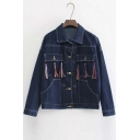 Fall Winter Stylish Tassel Pocket Lapel Denim Jacket