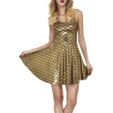 Fashion Round Neck Sleeveless Pleated Hem Skater Dress