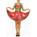 2016 Fashion Reversible Color Block Christmas Print Sleeveless A-line Short Dress