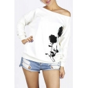 Stylish Rose Print Off Shoulder Pullover Fleece Sweatshirt