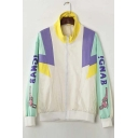 Color Block Letter Print Long Sleeve Zip Up Jacket