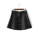 Studded Star Pattern Single Breasted High Waist Leather A-Line Skirt