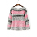 2016 New Style Color Block Striped Boat Neck Long Sleeve Knitted Sweater