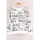 Fashion Latter Printed Round Neck Long Sleeve Fleece Sweatshirt