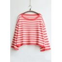 New Arrival Casual Drop Sleeve Striped Loose Fit Knitted Cropped Top
