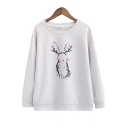New Arrival Graffiti Rabbit Long Sleeve Round Neck Sweatshirt
