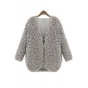 Women's Stylish Open-Front Long Sleeve Lambs Wool Coat