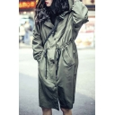 Women's Stylish Drawstring Waist Long Sleeve Hooded Trench Coat