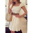 Lady Square Neck Short Sleeve High Waist Cut-Out Skater Dress