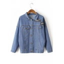 New Stylish Embroidery Letter Panel Lapel Long Sleeve Denim Jacket
