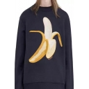 Fashion Banana Print Round Neck Long Sleeve Pullover Sweatshirt
