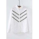 Trendy Lapel Single Breasted Striped Long Sleeve Shirt