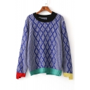 Color Block Trim Geometric Pattern Round Neck Long Sleeve Sweater