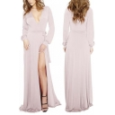 Sexy Plunge Neck Wrap Front Split Side Tied Waist Long Sleeve Maxi A-Line Dress
