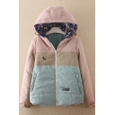 New Arrival Trendy Color Block Deer Embroidered Hoodie Reversible Coat