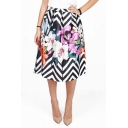 Women's Fashionable Floral Stripe Digital Print High Waist A-line Skirt