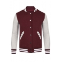 Hot Sale Color Block Stripe Trim Single Breasted Baseball Jacket