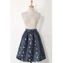 Fashion Animal Print Elastic Waist Zip-Back Midi Skater Skirt