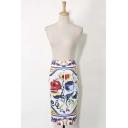 Floral Color Block Print Split Back Midi Pencil Skirt