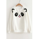 Cute Cartoon Print Raglan Long Sleeve Round Neck Elastic Trim Pullover Sweatshirt