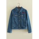 Fashion Embroidery Stars Single Breasted Lapel Long Sleeve Denim Jacket