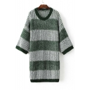 Fall Striped Color Block Trim Batwing Sleeve Round Neck Knitted Sweater