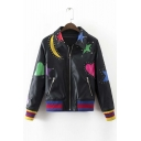 Studded Stars and Moon Applique Lapel Long Sleeve Contrast Elastic Trim Leather Jacket