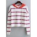 Fashion Striped Drawstring Hooded Long Sleeve Sweatshirt