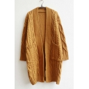 Vintage Style Cable Knit Open-Front Longline Cardigan