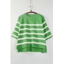 Fashion Striped Round Neck Half Sleeve Dip Hem Knitted Top