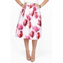 New Trendy Floral Digital Print A-line Skirt High Waist Swing Midi Skirt