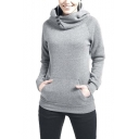 Women's Fashion High Neck Hooded Long Sleeve Sweatshirt with Kangaroo Pocket