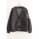 Fashion V-neck Single Breasted Letter Back Cardigan