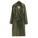 Trendy Notched Lapel Belt Waist Double Breasted Long Sleeve Coat