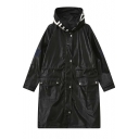 Loose Hooded Zipper Placket Popper Button Long Sleeve Leather Motorcycle Coat