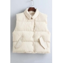 Fashion Lapel Sleeveless Single Breasted Padded Coat with Two Pockets