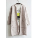 New Arrival Basic Open-Front Cardigan with Two Big Pockets