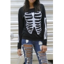 2016 New Fashion Skeleton Print Long Sleeve Round Neck Sweatshirt Black/White
