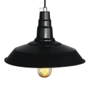 Vintage Black Industrial Style 1 Light Barn Pendant for Indoor Using