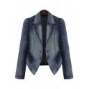 Plus Size Fashion Notched Lapel Long Sleeve Denim Jacket
