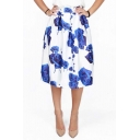 Stylish Blue Rose Print A-line Midi Skirt