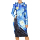 New Arrival Fashion Painting Print Hooded Long Sleeve Sweatshirt Dress