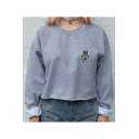 2016 Fall Winter Casual Hand Print Long Sleeve Cropped Sweatshirt
