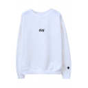 Fashion Day/Night Sun Moon Embroidered Round Neck Pullover Couple Sweatshirt