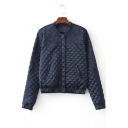 Stylish Embroidery Diamond Quilted Single-breasted Jacket