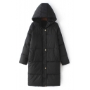 Black Quilted Hooded Zipper Front Long Padded Coat