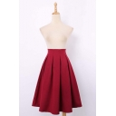2016 Plain Print Zip-Back Chiffon Midi Skater Skirt