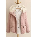 Trendy Fur Hooded Zipper Placket Long Sleeve Lace Hem Coat with Two Pockets