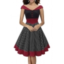 Women's Vintage Style Off Shoulder V-neck Polka Dot Print Midi Dress